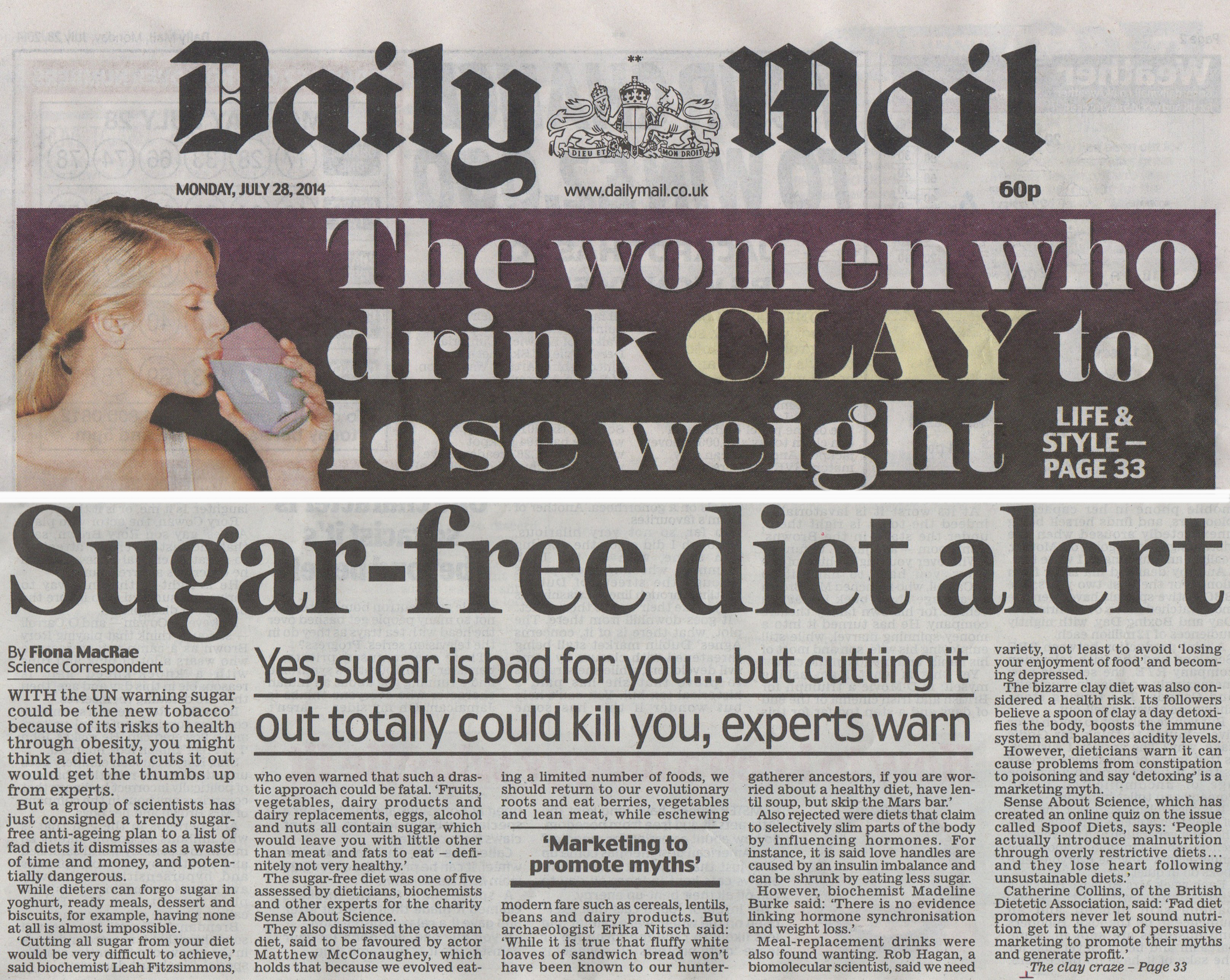 Spoof Diets Daily Mail coverage